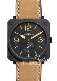 Bell & Ross Aviation Musta/Nahka 39x39 mm BR S Heritage