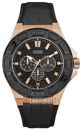 Guess Force Musta/Nahka Ø44 mm W0674G6